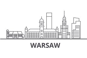 Warsaw architecture line skyline illustration. Linear vector cityscape with famous landmarks, city sights, design icons. Landscape wtih editable strokes