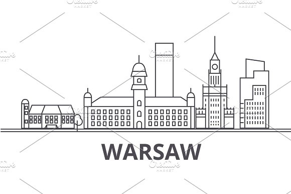 Warsaw Architecture Line Skyline Illustration Linear Vector Cityscape With Famous Landmarks City Sights Design Icons Landscape Wtih Editable Strokes