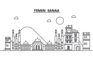 Yemen, Sanaa architecture line skyline illustration. Linear vector cityscape with famous landmarks, city sights, design icons. Landscape wtih editable strokes