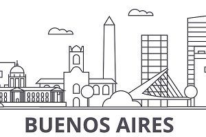 Buenos Airos architecture line skyline illustration. Linear cityscape with famous landmarks, city sights, design icons. Landscape wtih editable strokes
