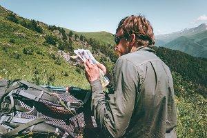 Man Traveler with map