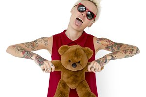 Blonde Woman Tattoo Teddy Bear (PNG)