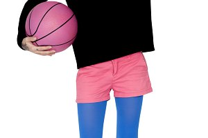 Blonde Woman Holding Basketball(PNG)