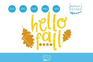 Hello Fall SVG Autumn SVG Leaves SVG