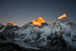 Everest mountain on the sunset