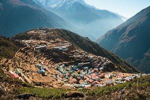 Namche Bazaar village in Himalayas
