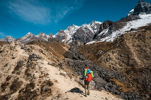 Traveller in the Himalaya mountains