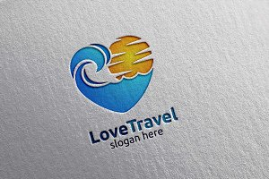 Travel and Tourism Logo, hotel,beach