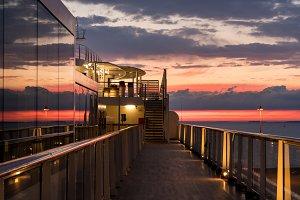 Cruise ship deck at sunset