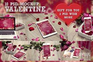 10 PSD Valentine Mockup + GIFT 2 PSD