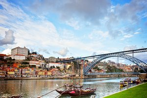 bishops palace and Dom Luis bridge,  Porto