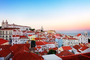 view of Alfama, Lisbon, Portugal