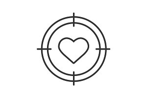 Aim on heart linear icon