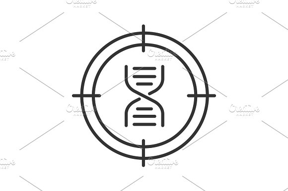 Aim on DNA chain linear icon in Graphics