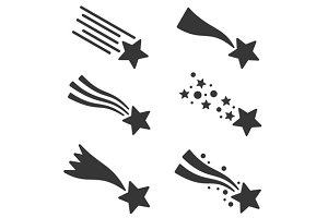 Shooting Stars or Comet Icons Set