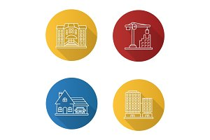 City buildings flat linear long shadow icons set