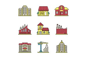 City buildings color icons set