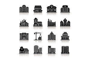City buildings drop shadow black glyph icons set