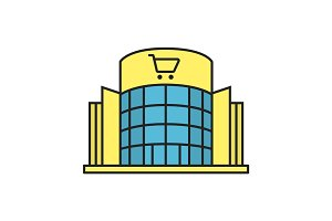 Shopping mall color icon