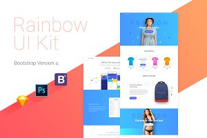 Rainbow UI Kit + Bootstrap 4 theme