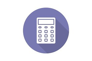 Calculator flat design long shadow glyph icon