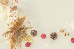 Christmas flat lay styled scene