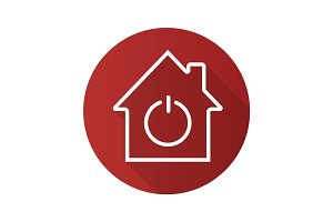 Smart house flat linear long shadow icon