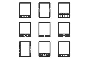 Electronic Book Reader Icons Set