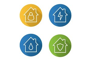 Houses flat linear long shadow icons set