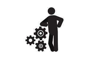 Man lean on cogwheels system silhouette icon