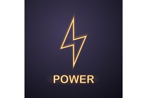 Power neon light icon