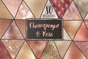 Rose gold and champagne textures