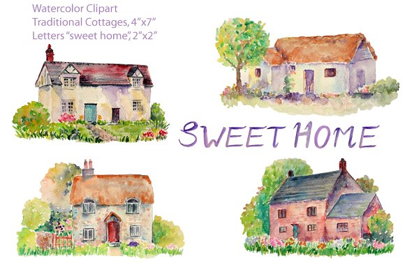 Watercolor traditional cottages illustrations creative for Watercolor cottages