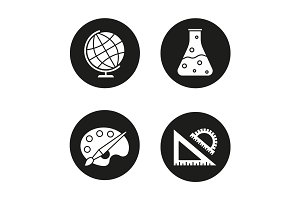 School and education glyph icons set