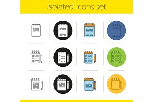 Notepads icons set