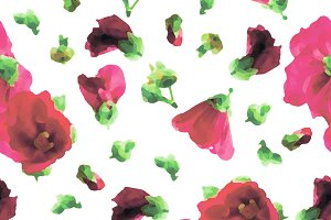 Pink Hollyhocks Seamless Pattern