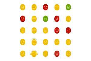 Smileys glyph color icon set