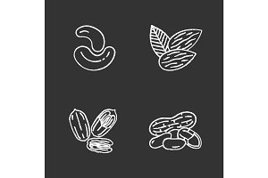 Nuts chalk icons set