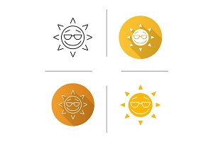 Cool sun smile icon