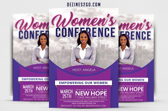 women s conference flyer v3 flyer templates creative market