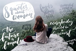 Hand lettering quotes about woman