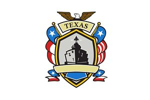 Texas Battleship Emblem Retro