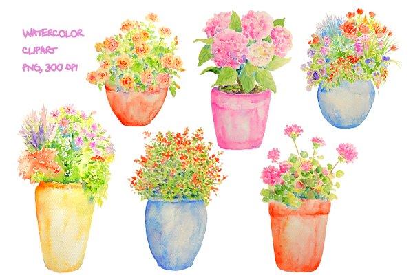 Watercolor Plant Pot Clipart