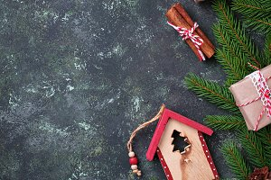 Festive Christmas background. Top view