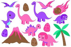 Pink Dinosaur Clip Art Set