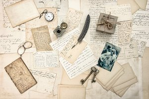 love story. old letters and photo