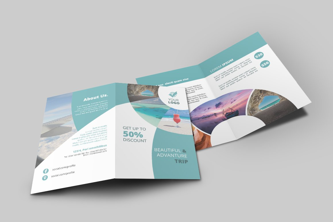 two fold brochure design - travel agency bi fold brochure brochure templates