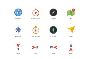 Compass and map colored icons