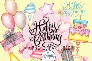 Happy Birthday Clipart Watercolor