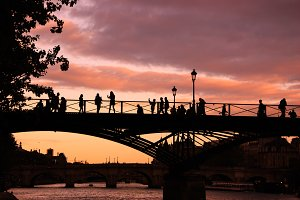 Parisian bridges. Sunset. Silhouette